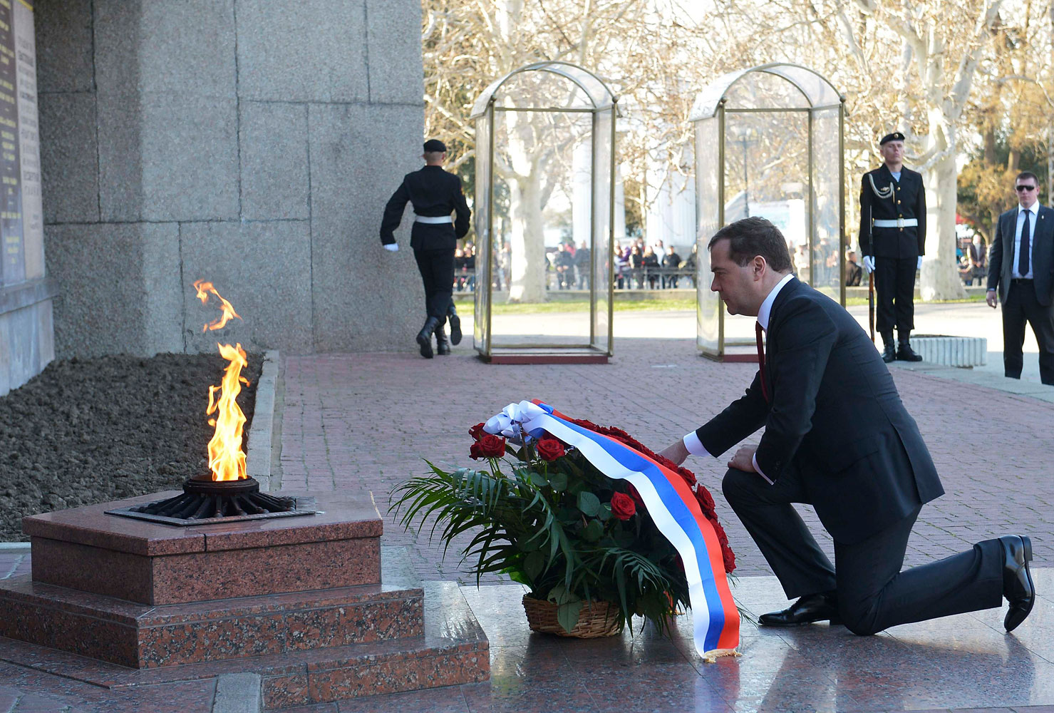 Russia's Prime Minister Dmitry Medvedev takes part in a wreath laying ceremony at the World War Two Memorial to Heroic Defence of Sevastopol in Sevastopol, March 31, 2014.
