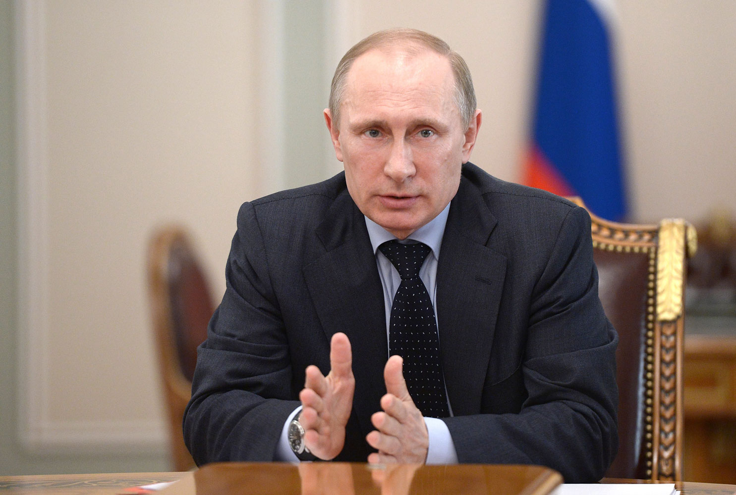 Russia's President Vladimir Putin speaks at a Security Council meeting at the Kremlin in Moscow, on March  28, 2014.