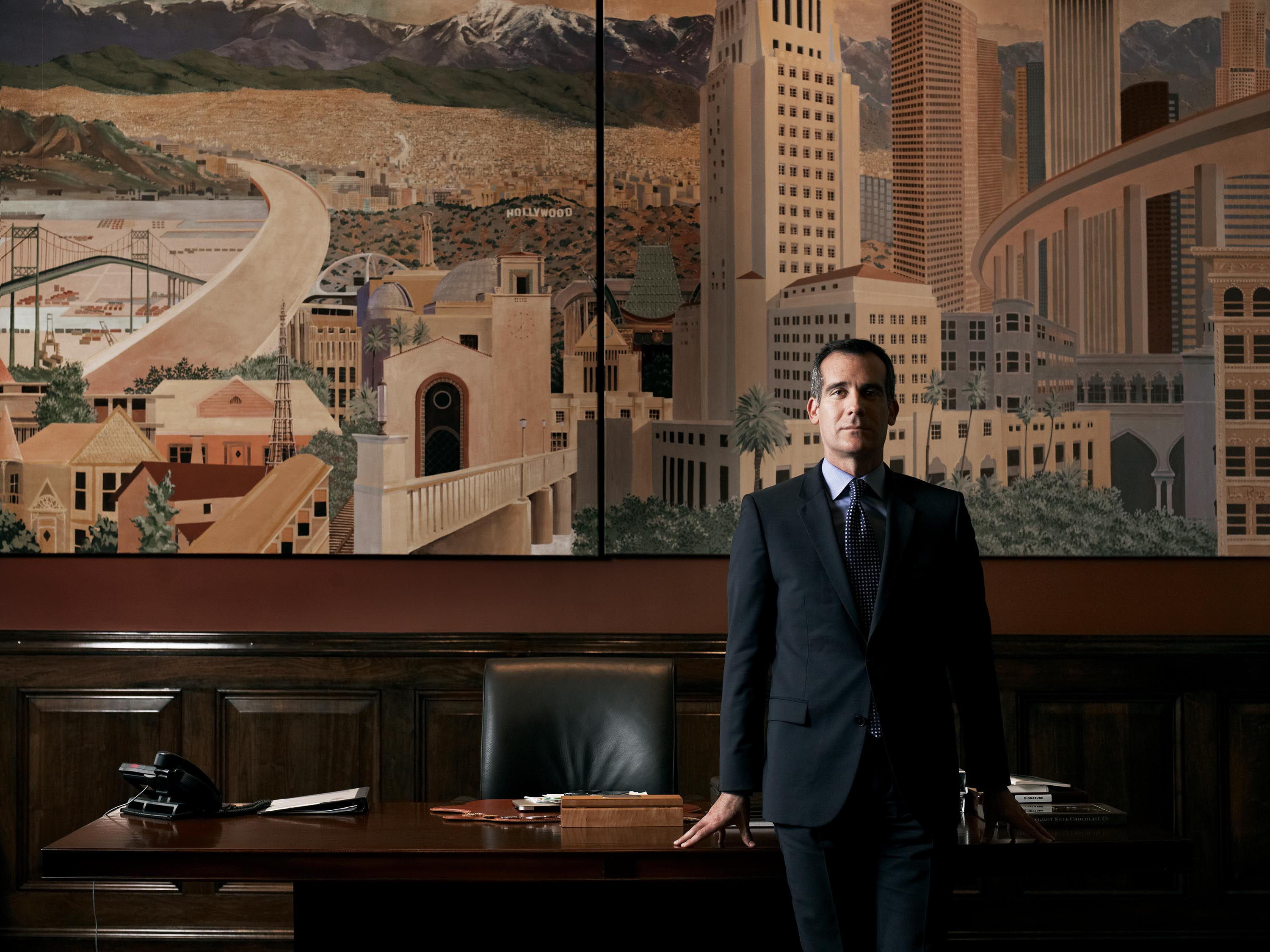 The new boss Garcetti in his city hall office