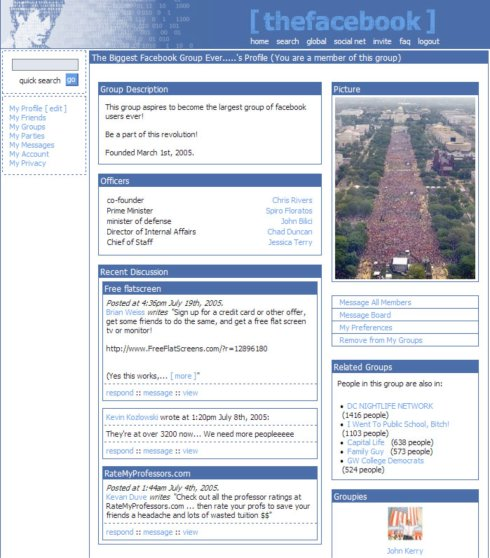 The Original Facebook Group Page, 2004.