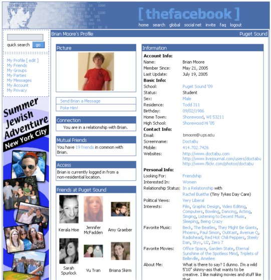 Facebook Profile Page, 2005.