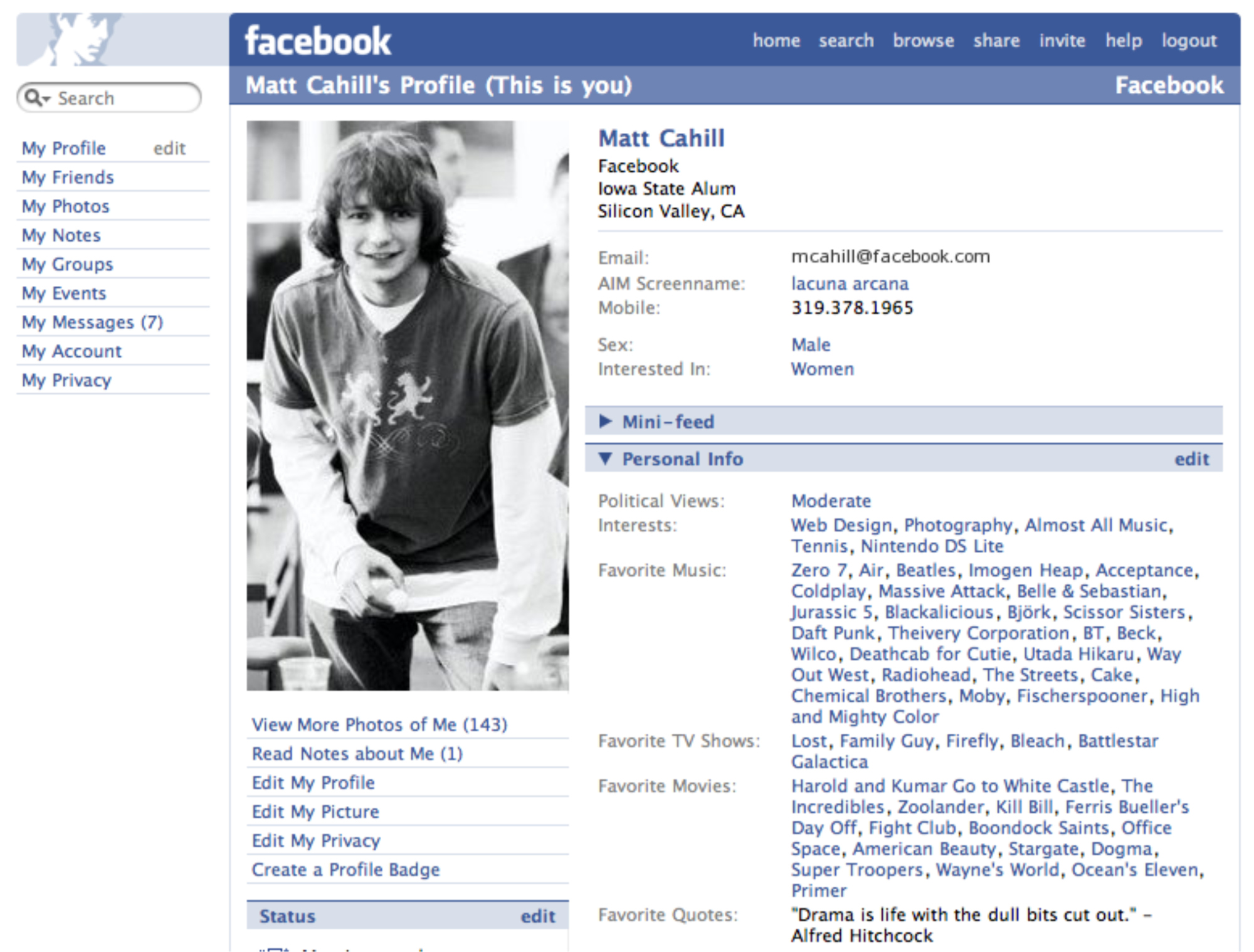 Facebook Profile Page Facelift, 2005. The  the  is finally dropped.
