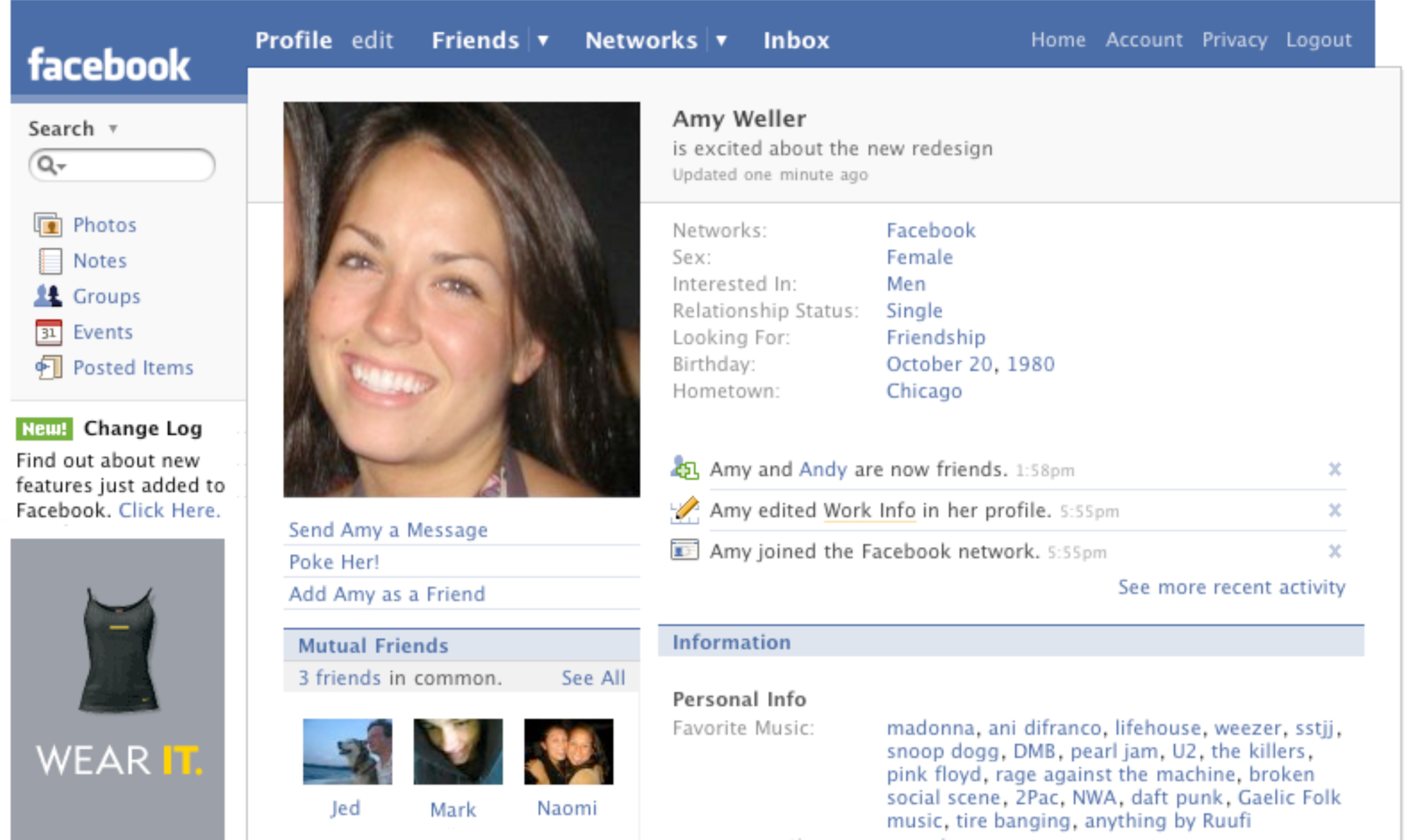 Facebook Profile Page, 2007. Every profile update still had to begin with  is,  forcing you to talk about yourself in the third person.