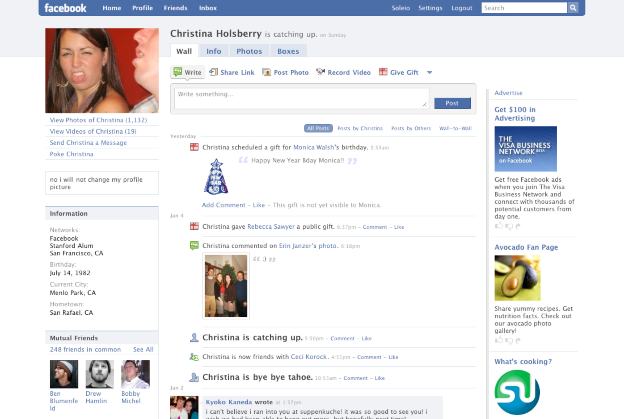 Facebook Profile Page, 2008. The wall.