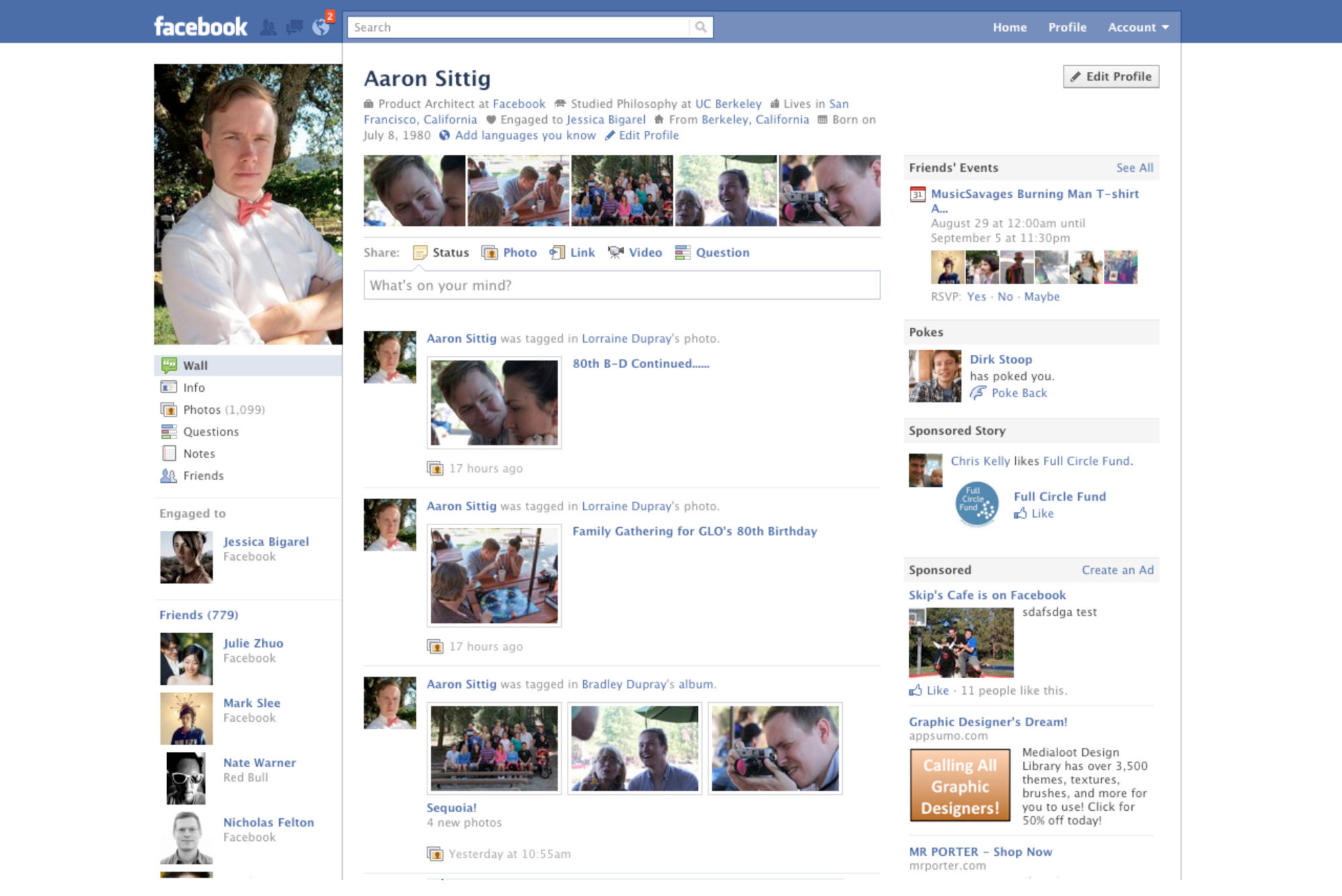 Facebook Profile Page, 2010.  Facebook starts to get pretty.