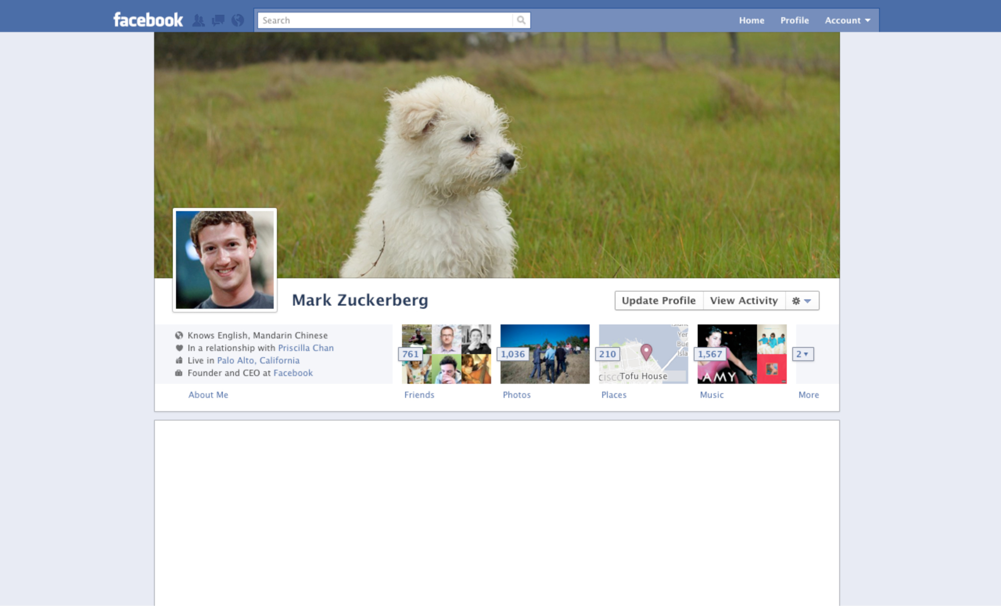 <strong>Facebook Profile Page, 2011.</strong> Zuckerberg realizes that people love pictures, usually of animals.