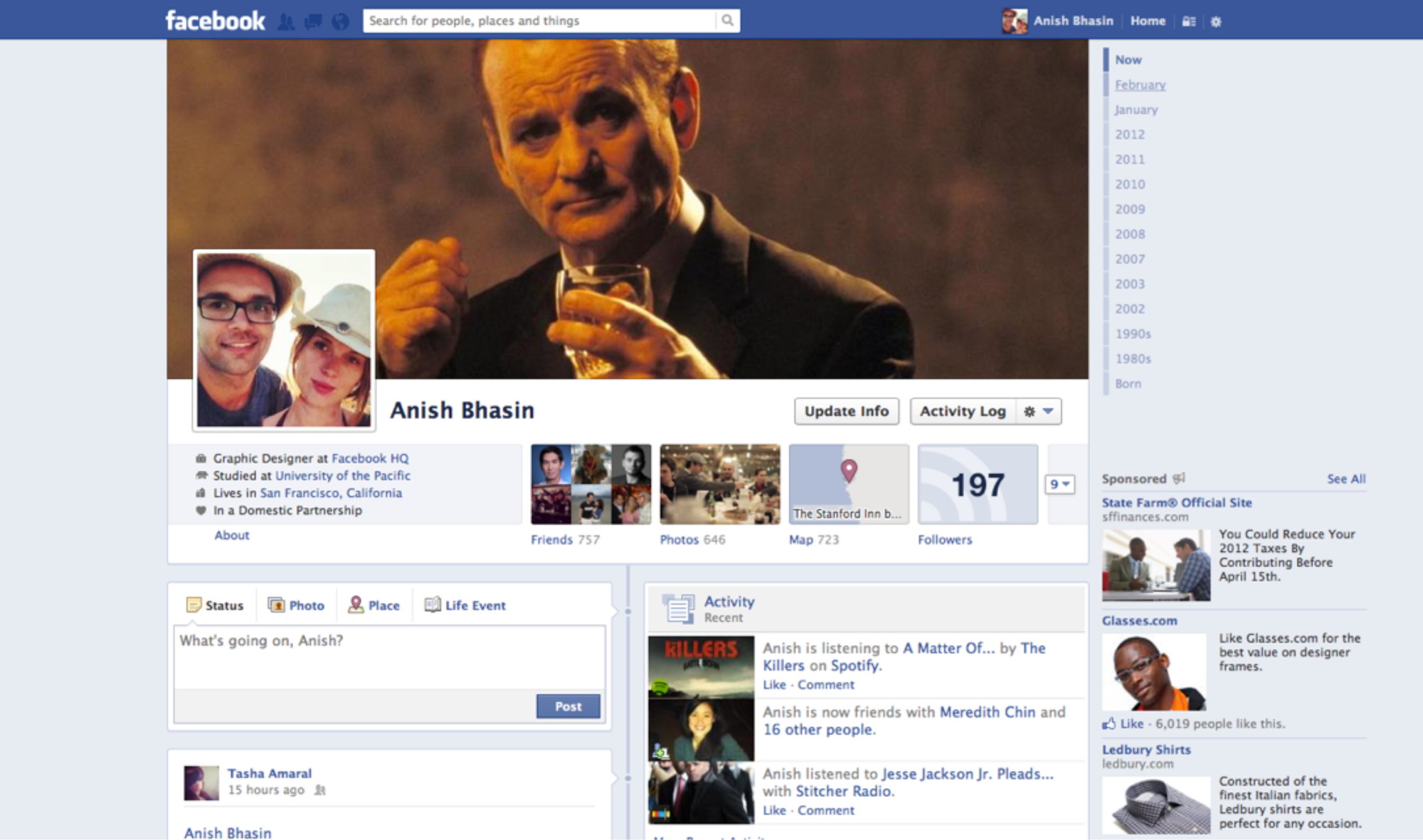 <strong> Facebook Profile Page, 2012.</strong> The timeline allows you (or your parents) to trace your life from birth to death.
