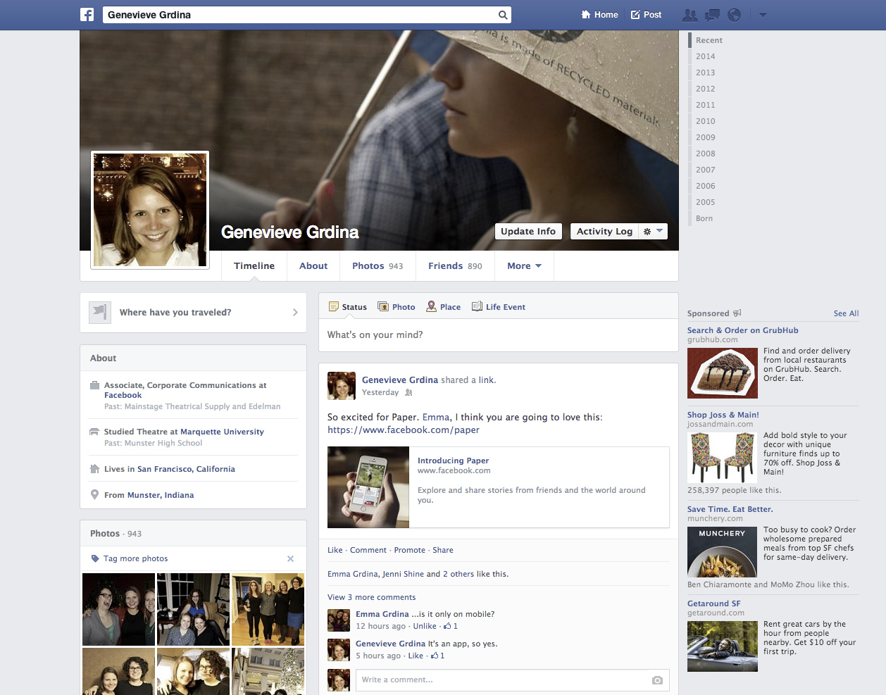 Facebook Profile Page, 2013-2014. Facebook introduced a new app, Paper, on Monday.