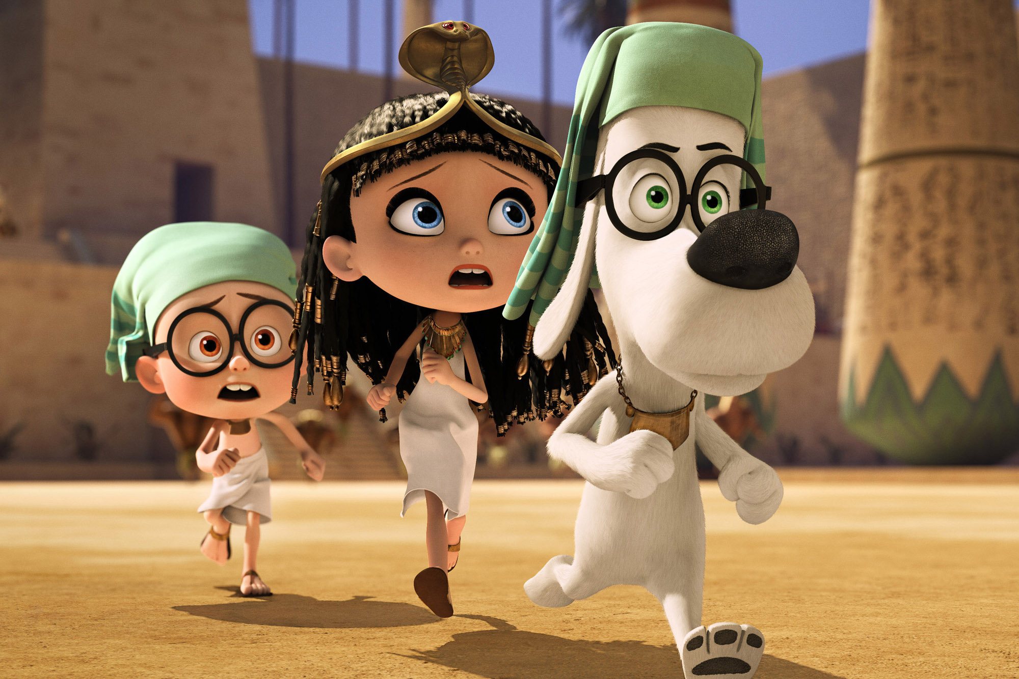 This image released by DreamWorks Animation shows Sherman, voiced by Max Charles, from left, Penny, voiced by Ariel Winter, and Mr. Peabody, voiced by Ty Burell, in a scene from  Mr Peabody & Sherman.