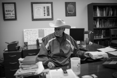 Pastor Fred Phelps, 81 here, in his home office in Topeka, Kans. Pastor Phelps founded the Phelps Chartered Law Firm in 1964, but was disbarred from practicing law in Kansas in 1979 for making false statements.