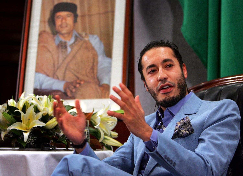 Al Saadi Gaddafi, the third son of Libyan leader Muammar Gaddafi, speaks at a news conference in Sydney in 2005.