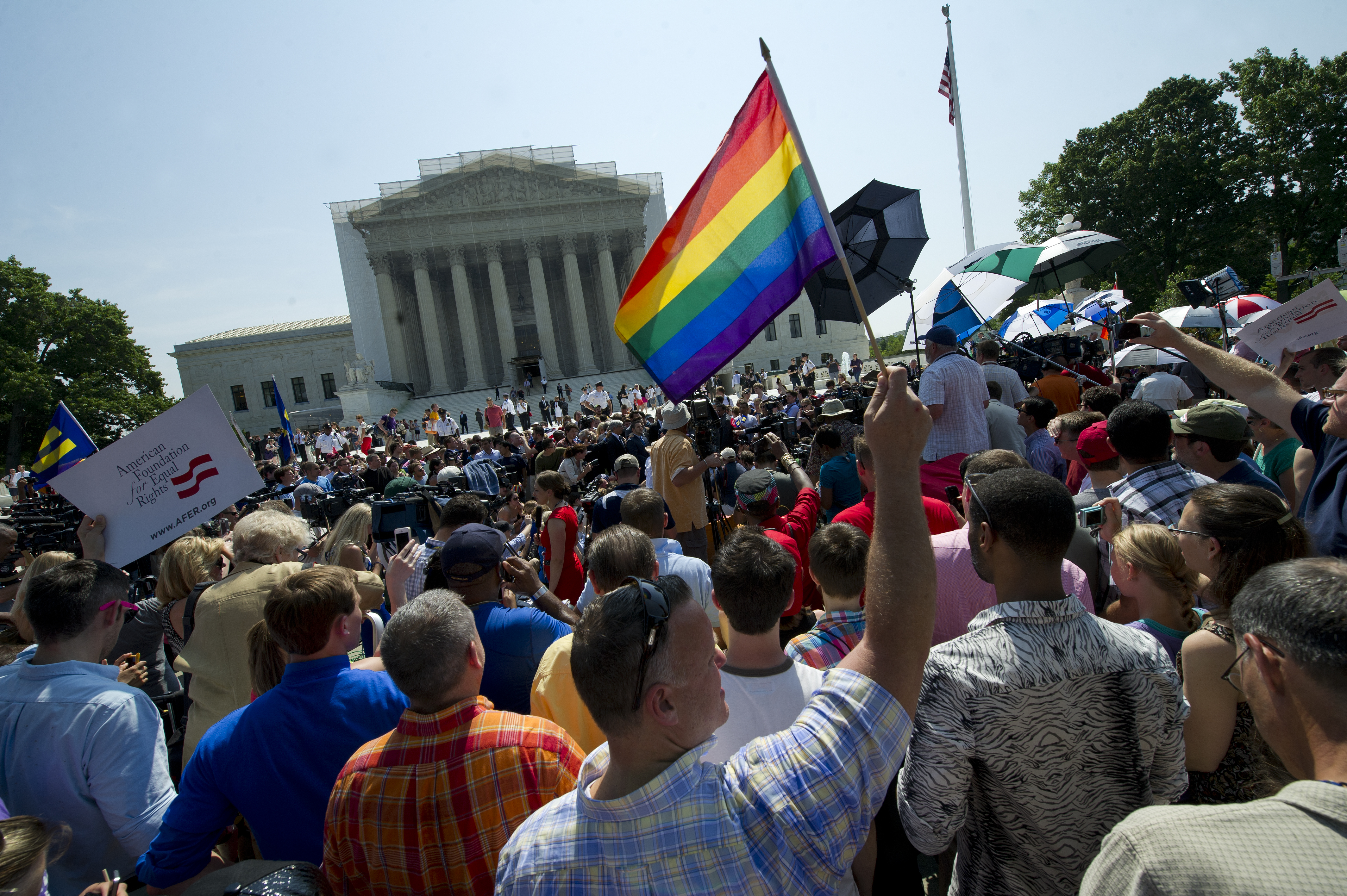 Gay and lesbian activist protest in front of the U.S. Supreme Court building in Washington, DC. June, 2013.