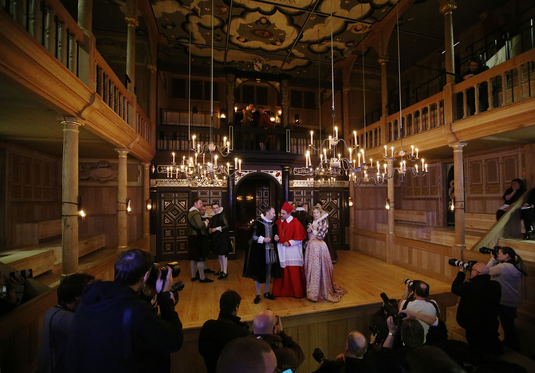 Actors perform John Webster's  The Duchess of Malfi  at the Sam Wanamaker Playhouse at the Globe Theatre in London January 14, 2014.
