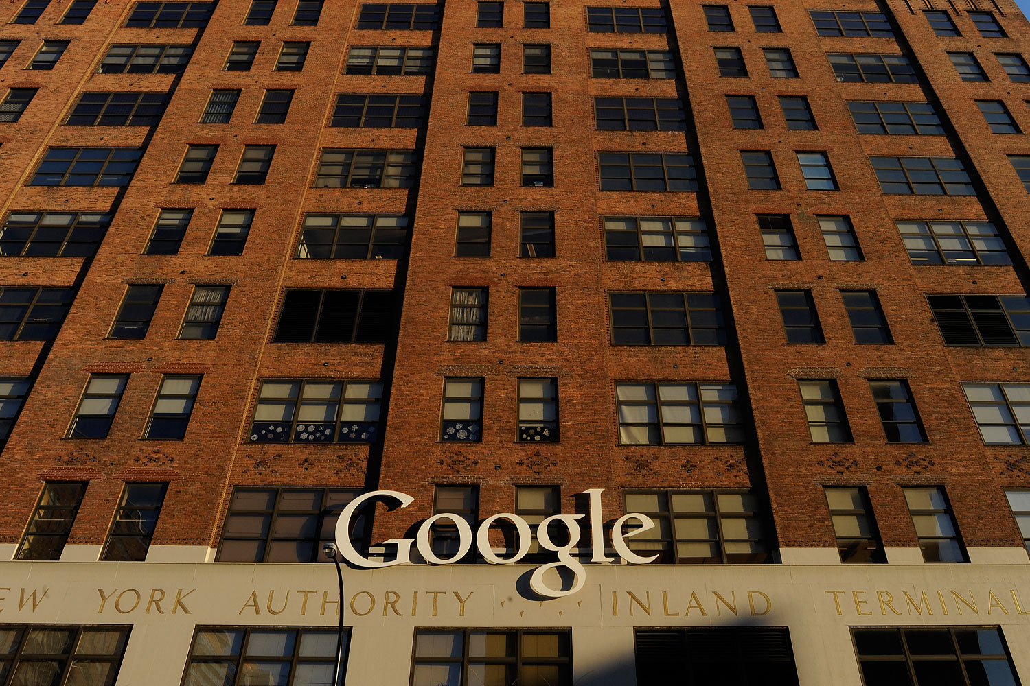 A Google logo at their New York Offices in 2013.