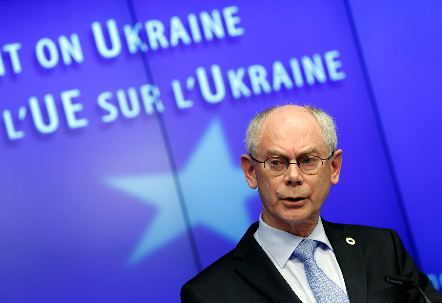 European Council President Herman Van Rompuy speaks at a news conference at the end of a European leaders emergency summit on Ukraine, in Brussels, on March 6, 2014