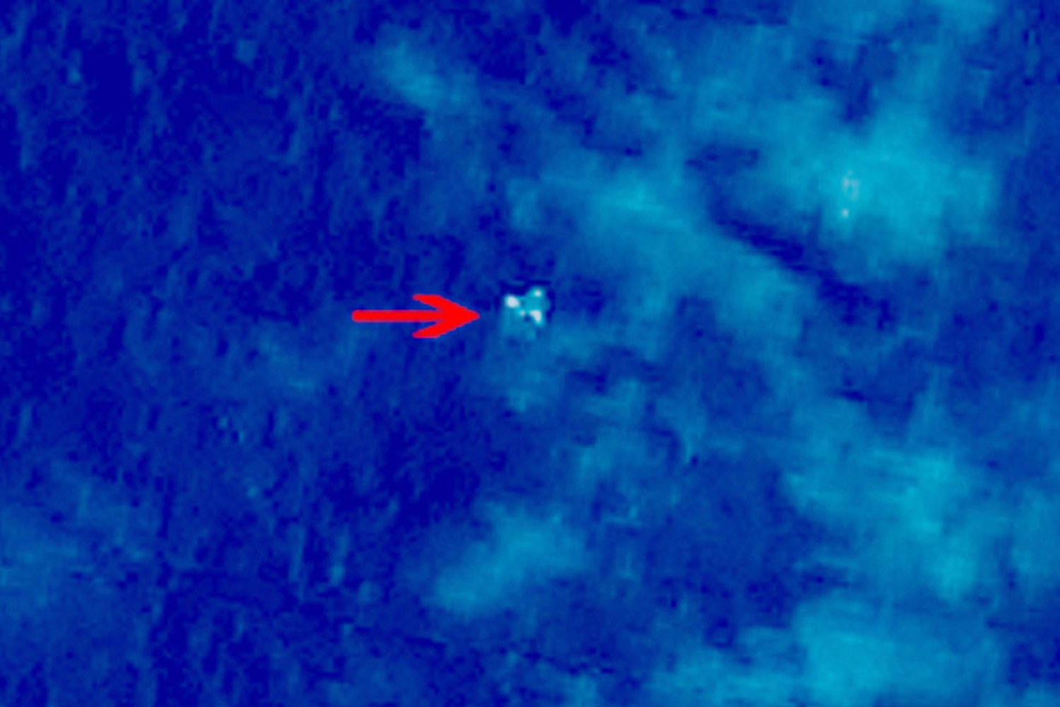 A satellite image of what the Chinese government said is a possible crash site near the Gulf of Thailand for Malaysia Airlines Flight 370, which vanished on Saturday