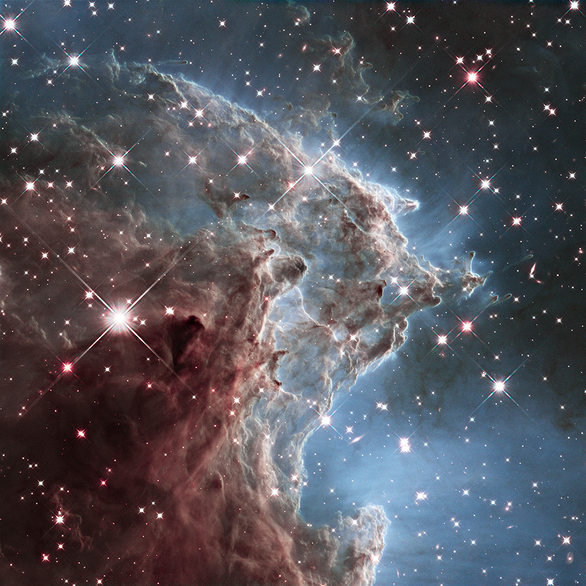 An infrared image of a small portion of the Monkey Head Nebula (also known as NGC 2174 and Sharpless Sh2-252) captured by the Hubble telescope, released on March 17, 2014. The nebula is a star-forming region that hosts dusky dust clouds silhouetted against glowing gas.
