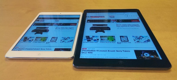 The iPad Mini with Retina Display (left) and iPad Air