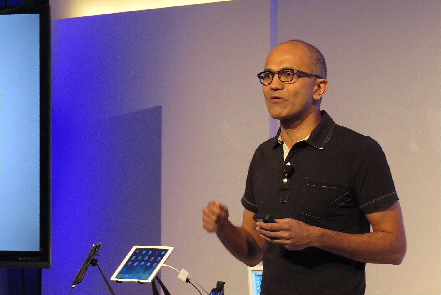 Microsoft CEO Satya Nadella at the company's press event in San Francisco on March 27, 2014