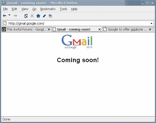 Gmail's home page as it looked on March 31, 2004, shortly before the service launched