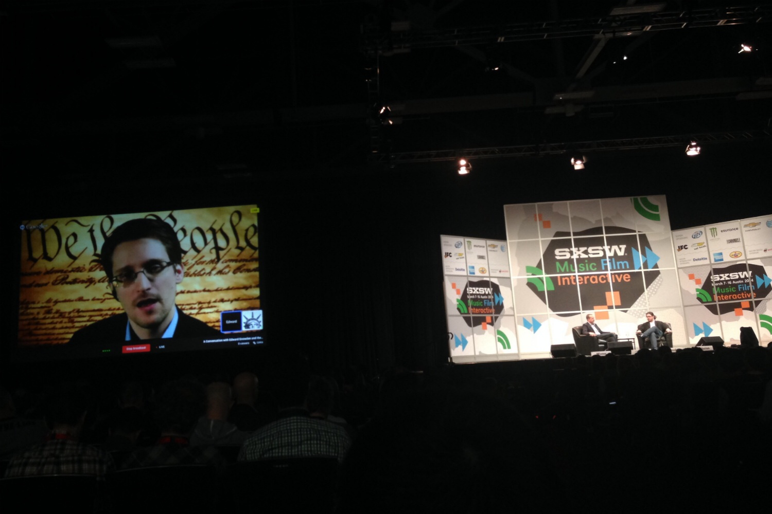 Edward Snowden speaks via video conference from Russia at SXSW Interactive in Austin, Tex. on March 10, 2014