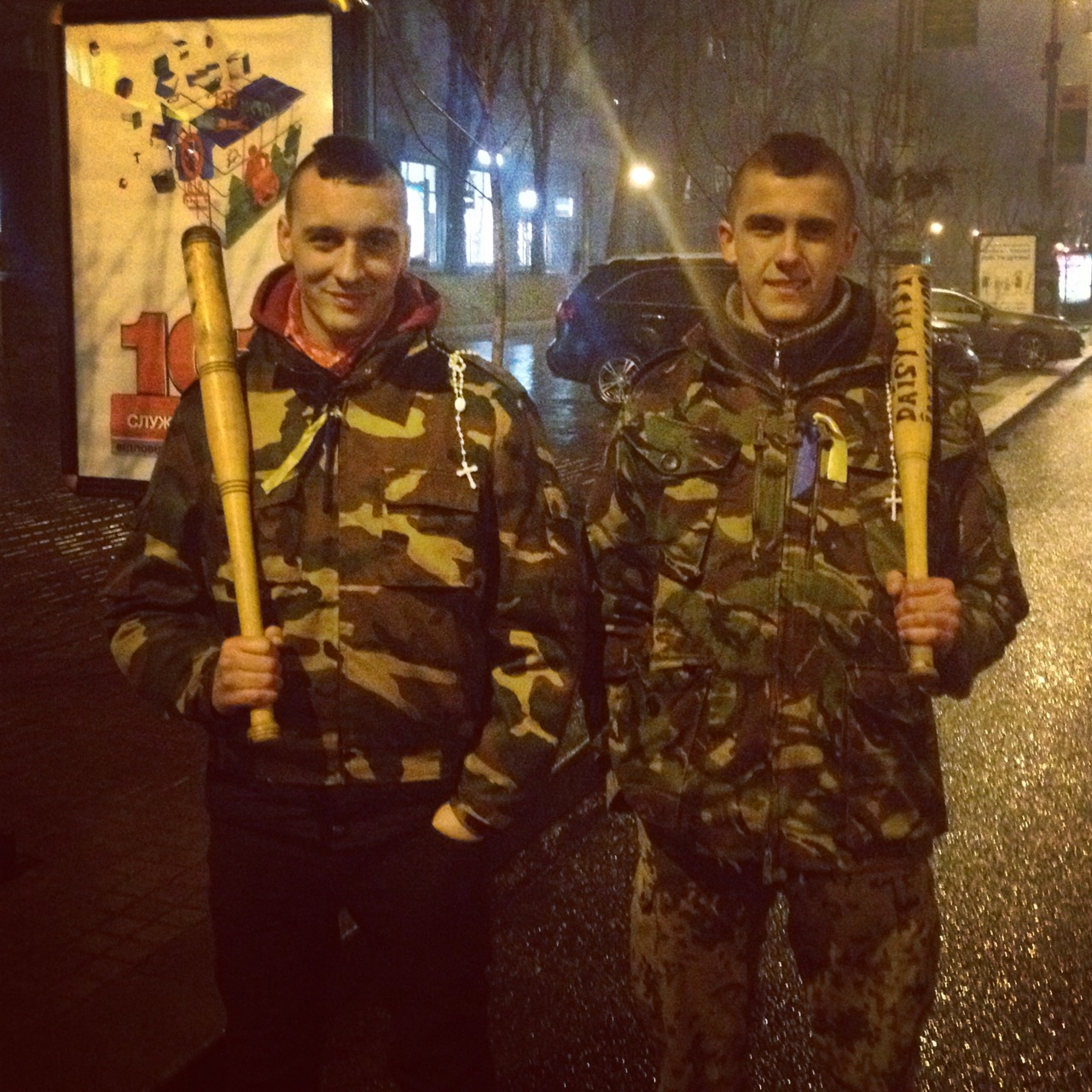 Self-defense  volunteers patrol near the Maidan, March 6, 2014.