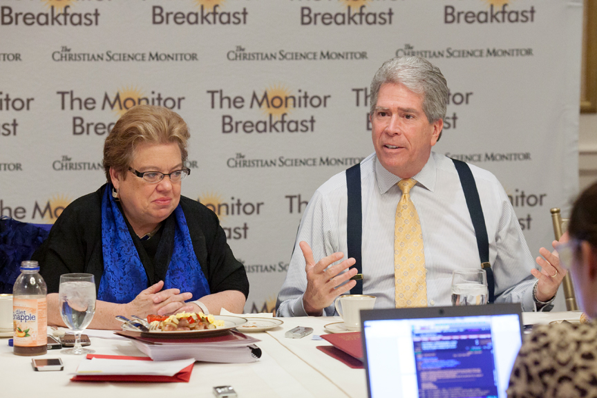 Pollsters Celinda Lake and Ed Goeas speak at a breakfast sponsored by the Christian Science Monitor in Washington on Tuesday, March 25, 2014. Photo courtesy of the Christian Science Monitor.