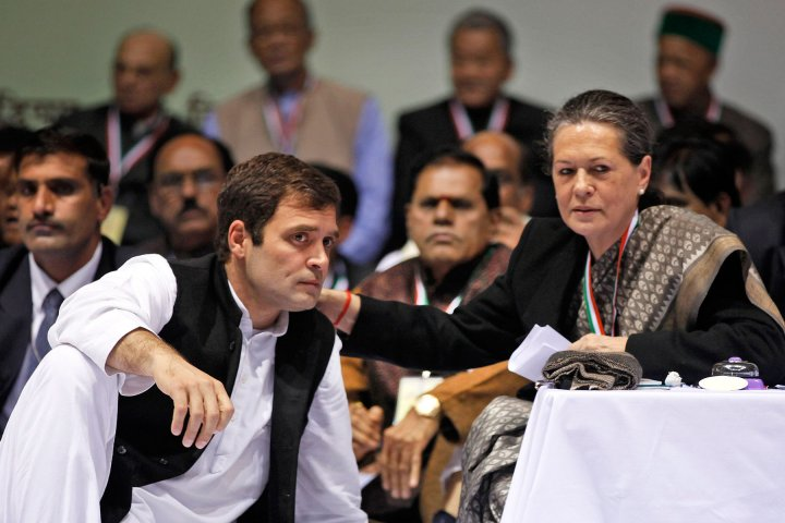 Sonia Gandhi with Rahul at a party meeting in New Delhi