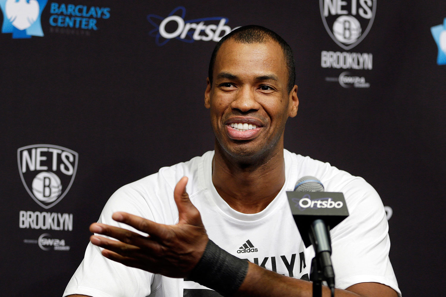 Brooklyn Nets Jason Collins speaks during a news conference before an NBA basketball game against the Chicago Bulls at the Barclays Center, Monday, Mar. 3, 2014, in New York