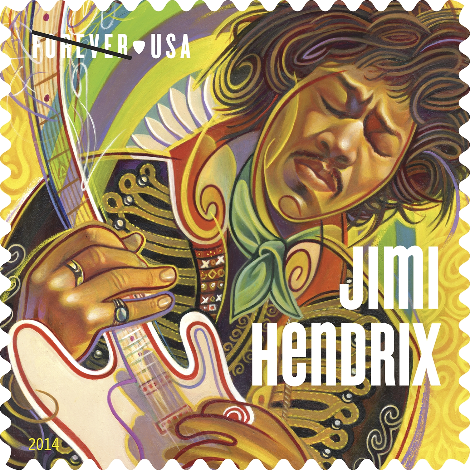 The USPS released a new Forever stamp honoring guitarist Jimi Hendrix.