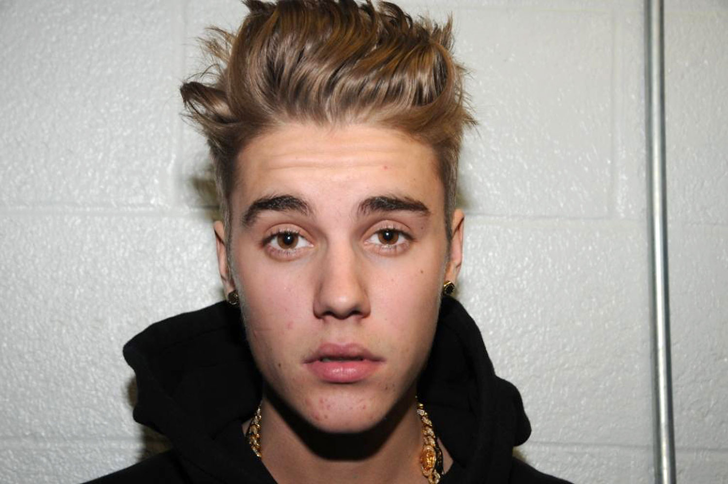 Justin Bieber is photographed by police while in custody on January 23, 2014 in Miami Beach, Florida.