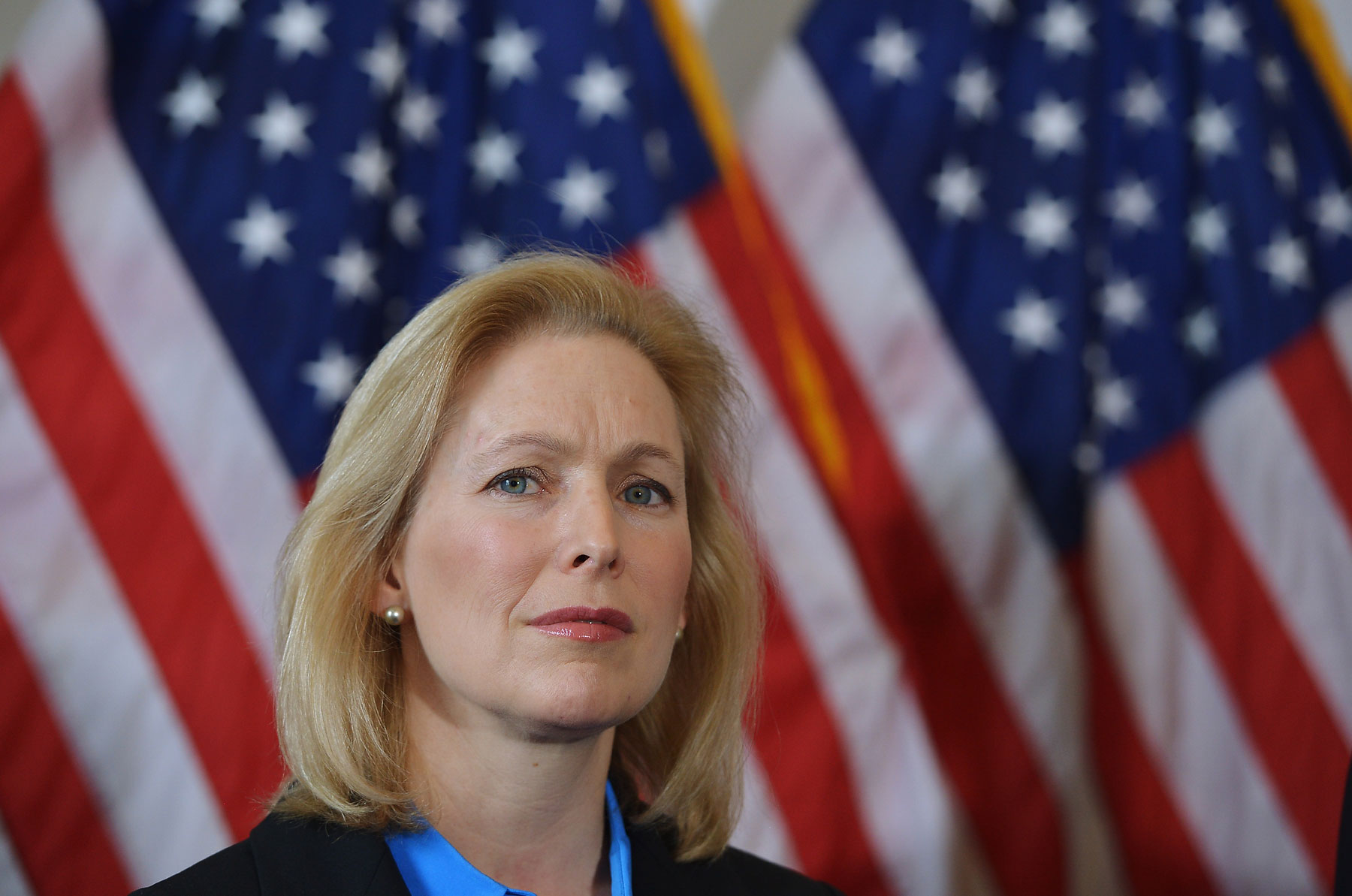 Senator Kirsten Gillibrand attends a press conference on Capitol Hill in Washington, D.C. on Feb. 6, 2014, calling for the creation of an independent military justice system to deal with sexual assault in the military.