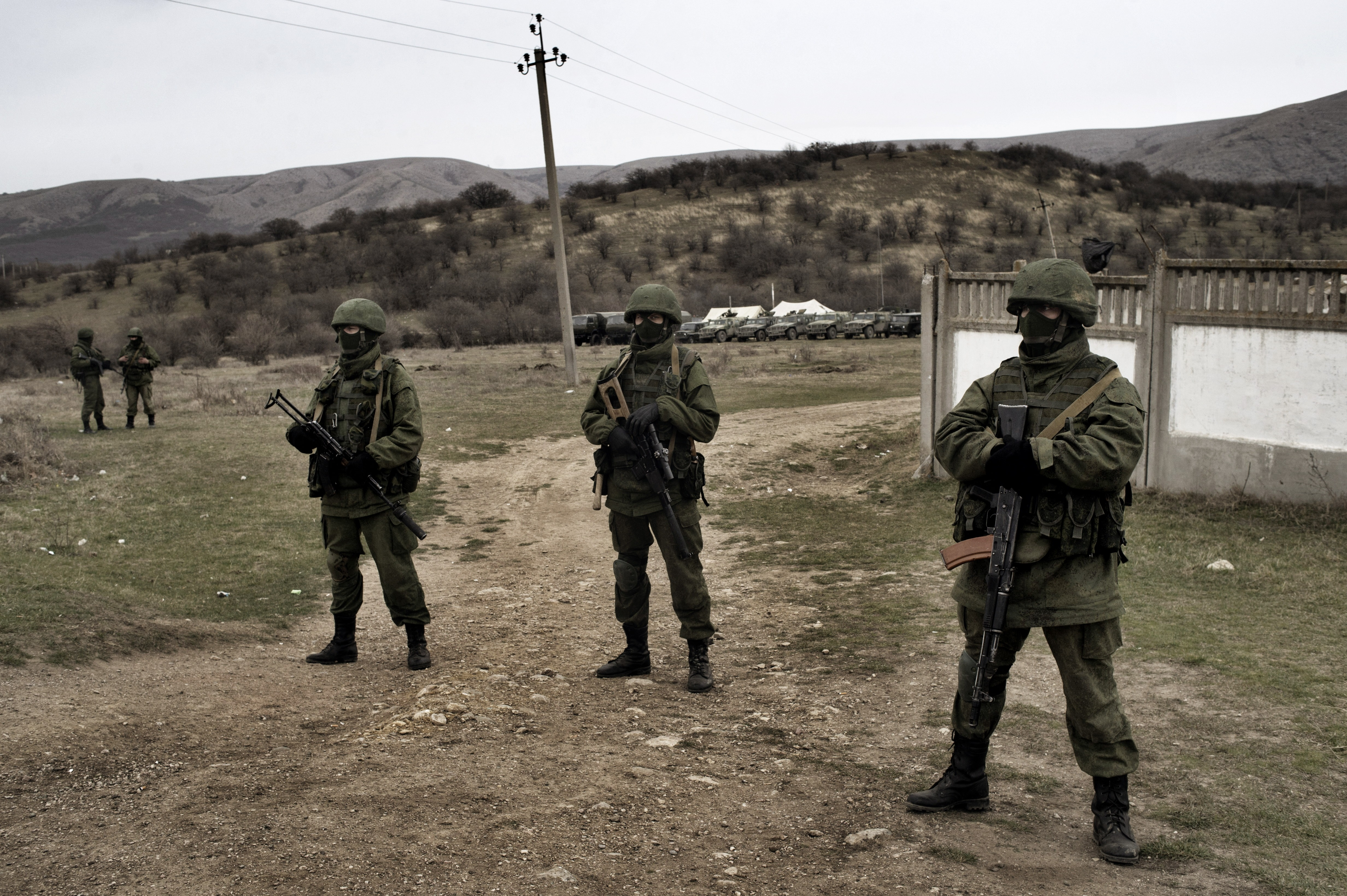 Some heavily armed soldiers without insignia had taken up positions around small Ukrainian military bases, but did not try to enter them, in Perevalnoye, Ukraine on March, 4 2014.