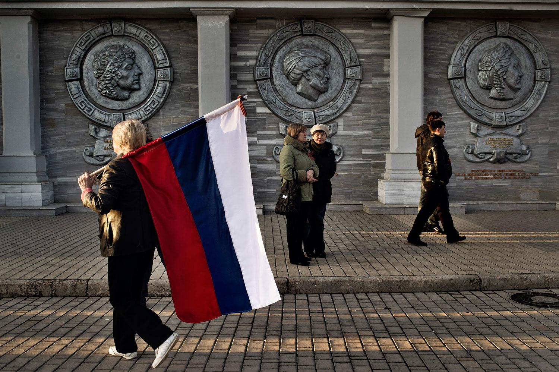 Pro-Russian  gathering in Yevpatoria, Crimea,  March 5,  2014.