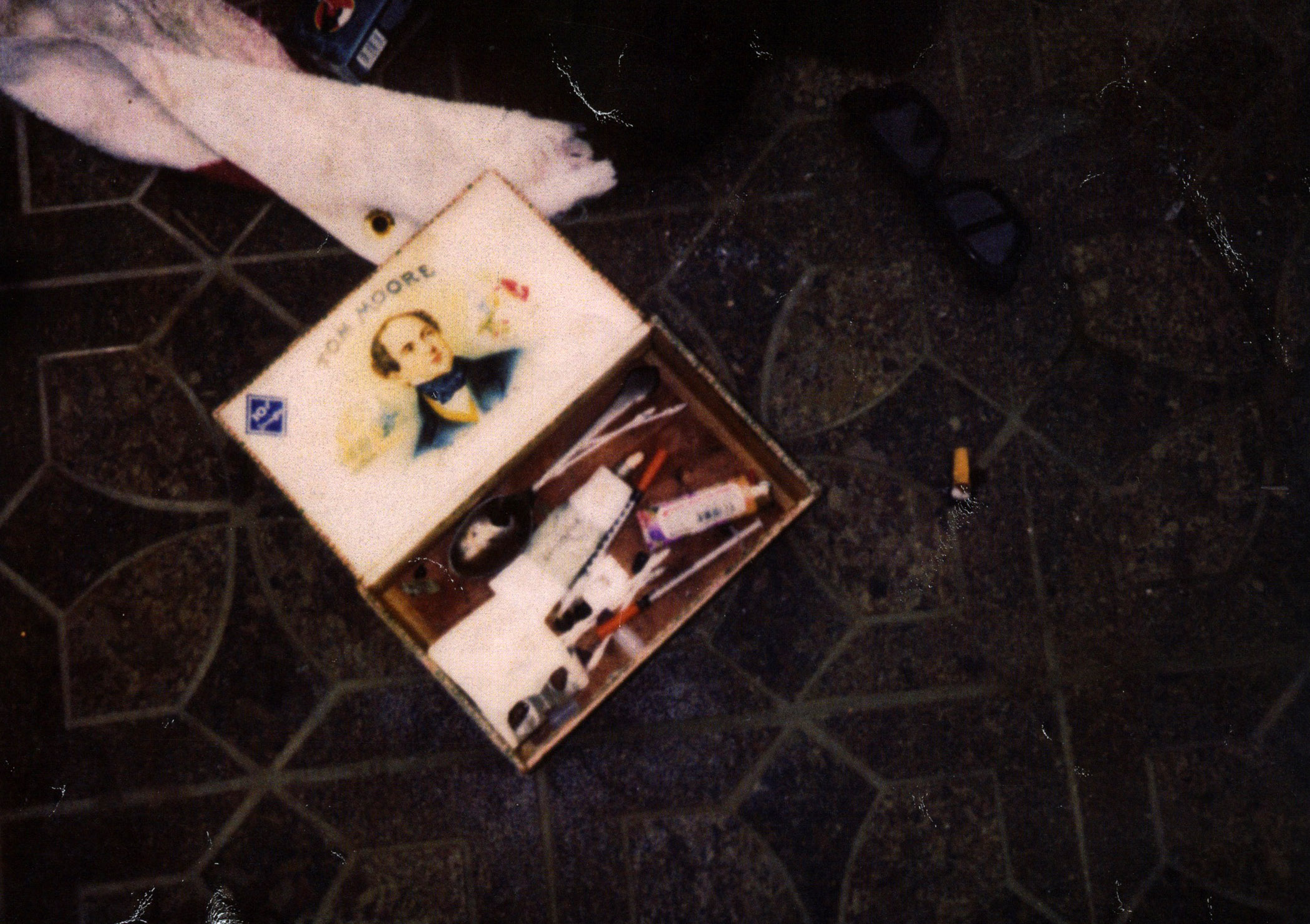 A box with drug paraphernalia in the house of singer Kurt Cobain in Seattle. The photo was released on March 21, 2014.