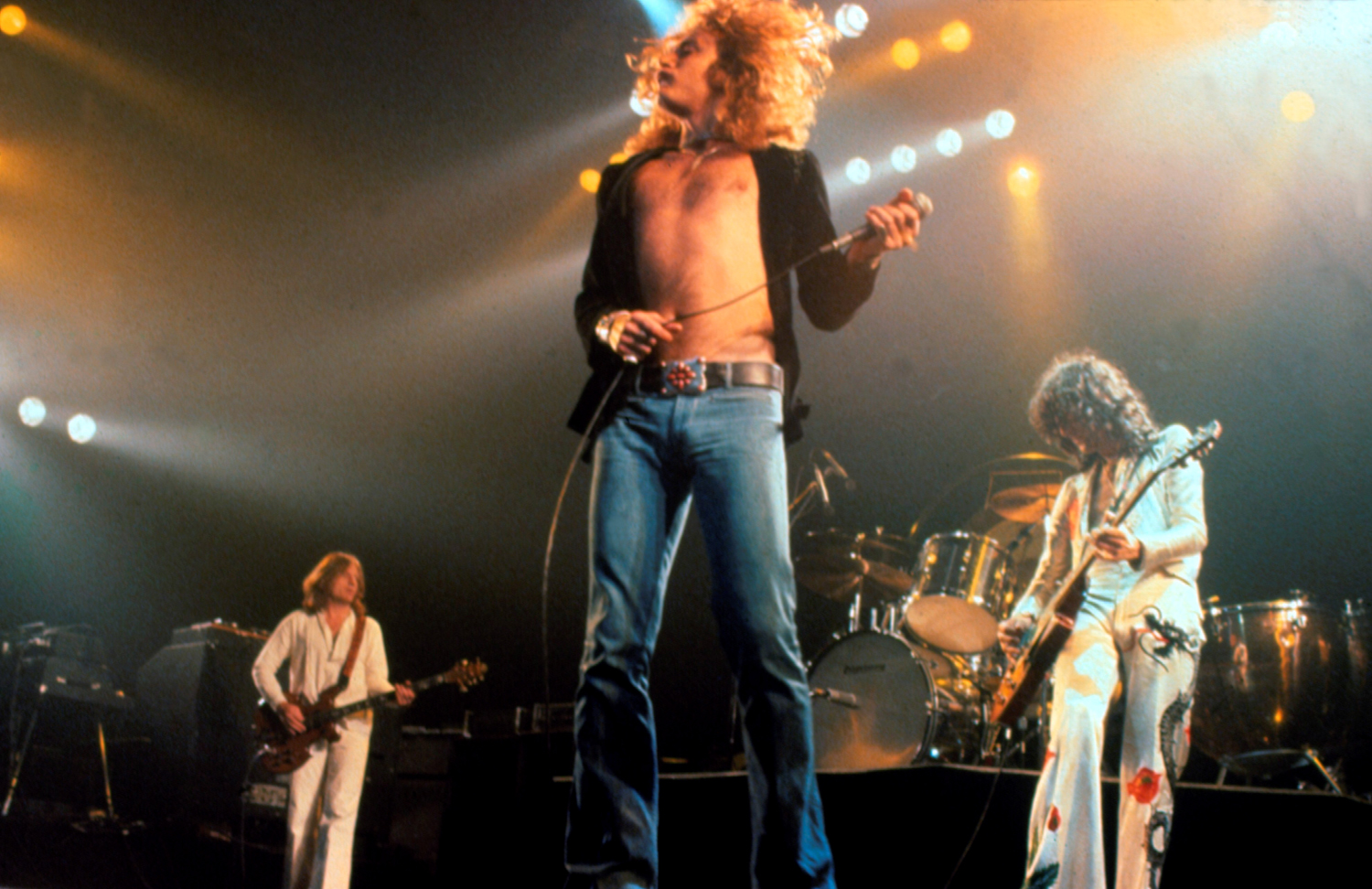 Bassist John Paul Jones, singer Robert Plant and guitarist Jimmy Page of British rock band Led Zeppelin performing on stage at Madison Square Garden in New York City in June 1977