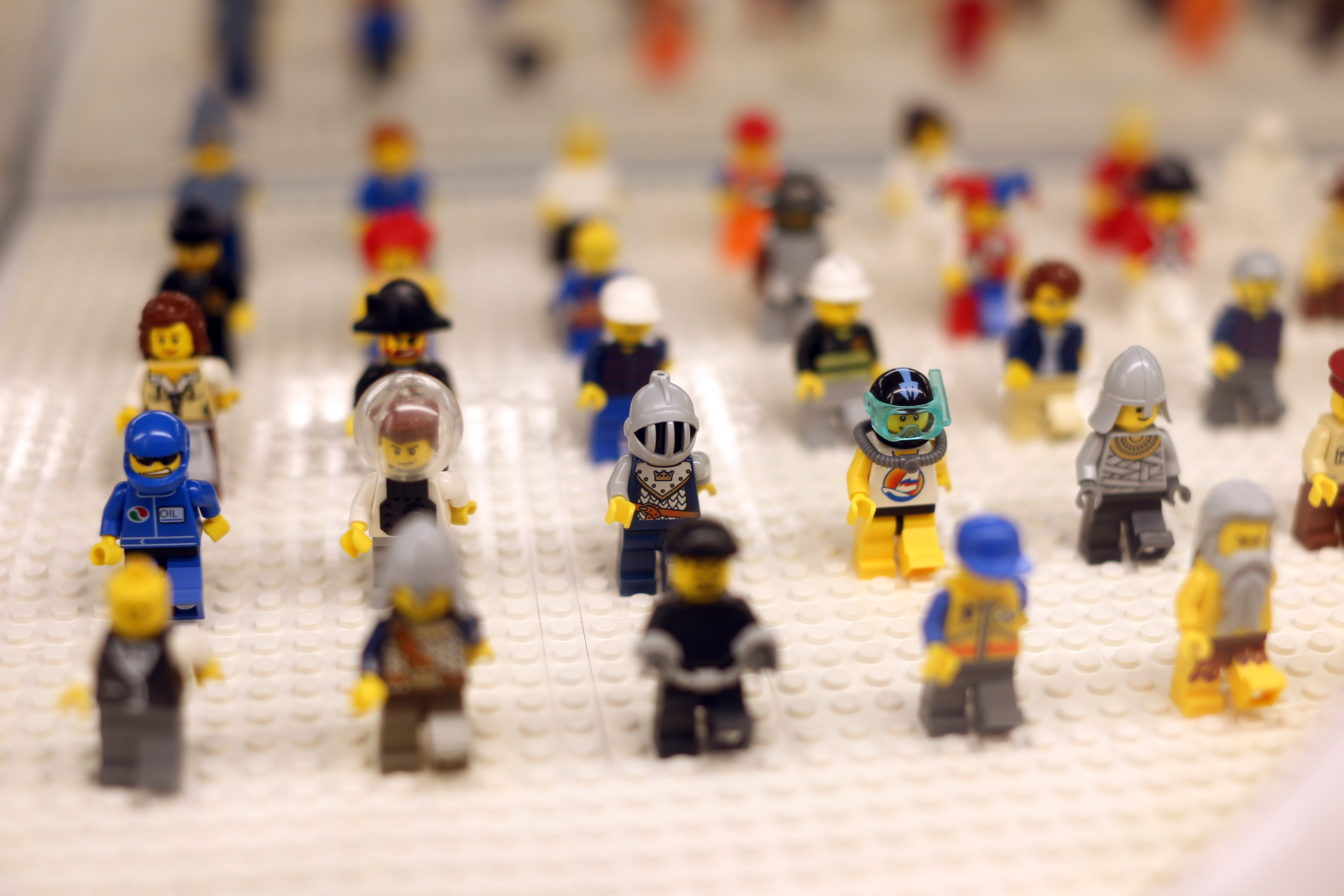 Lego minifigures are displayed in a shop in Levallois-Perret, west of Paris, 2012.