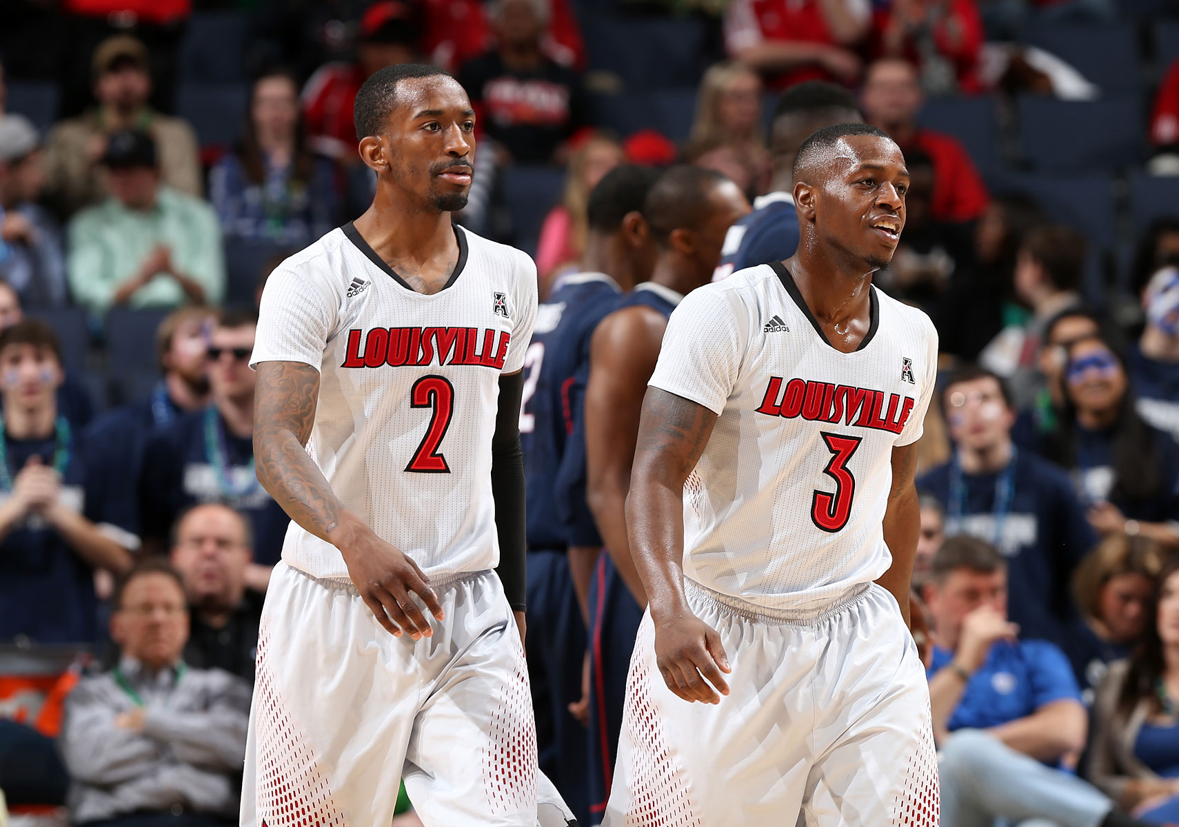From left: Russ Smith #2 and Chris Jones #3 of the Louisville Cardinals during the Championship of the American Athletic Conference Tournament at FedExForum on March 15, 2014 in Memphis.