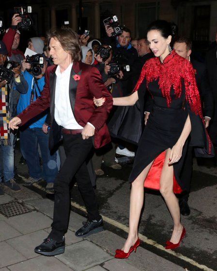 From left: Mick Jagger and L'Wren Scott at the Harper's Bazaar Women of the Year Awards 2013 at Claridges, in London on May 11, 2013.