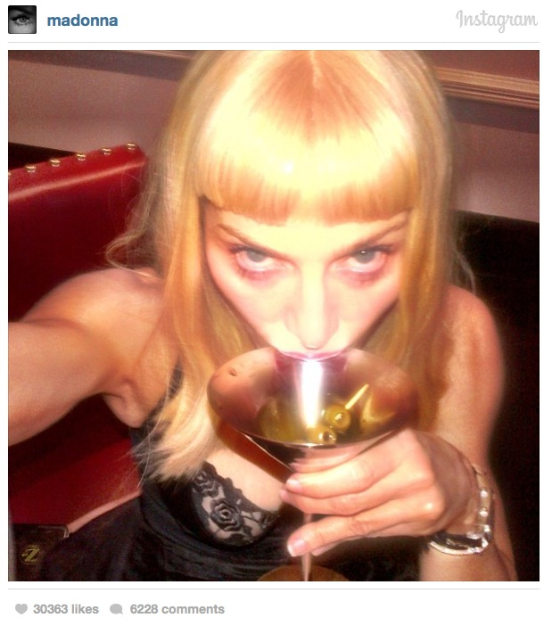 Madonna joined Instagram back in February and immediately graced her fans with this selfie of her cleavage as she sipped a dirty martini.
