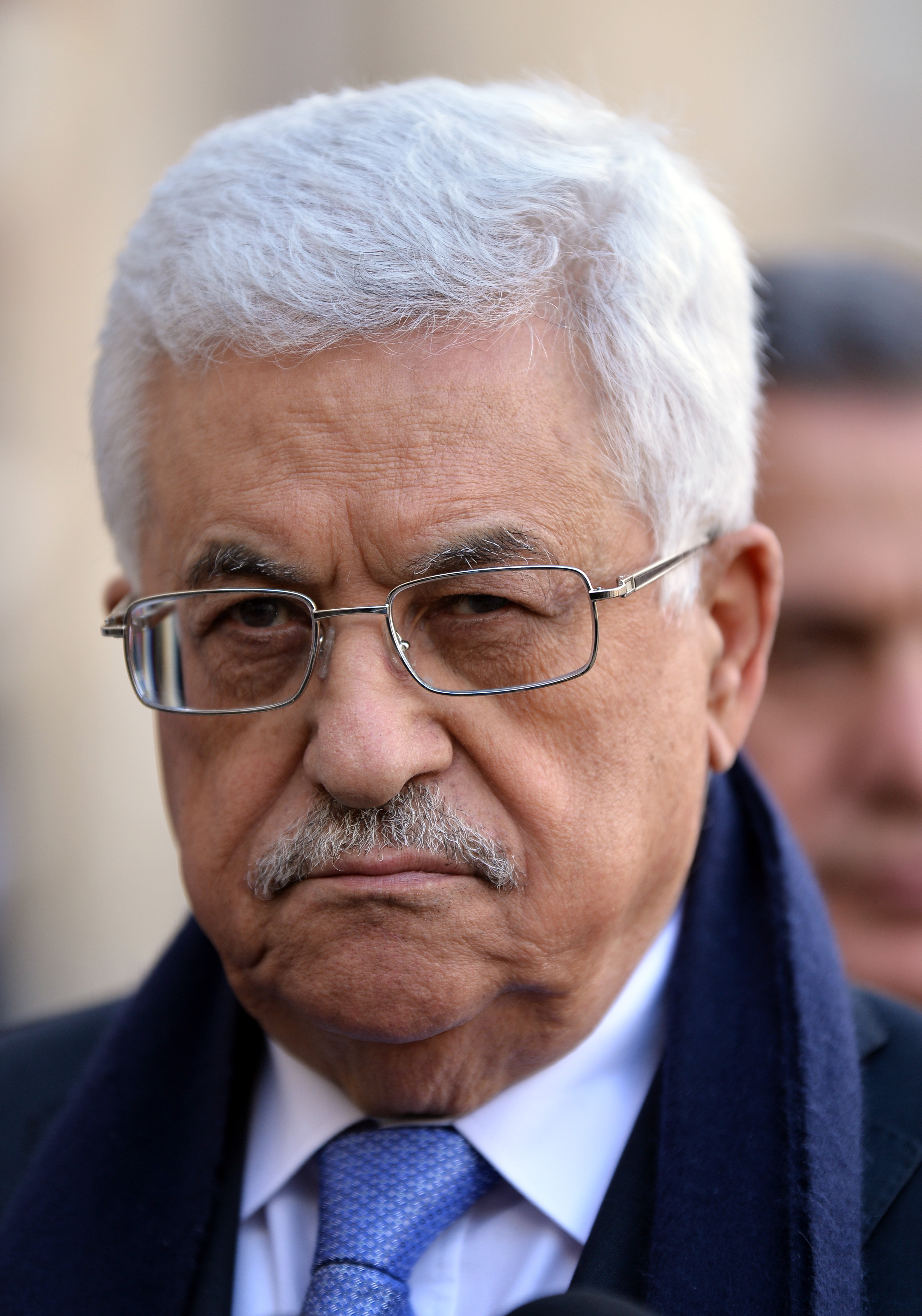 Palestinian Authority President Mahmoud Abbas at the Elysee Palace in Paris, France, on February 21, 2014.
