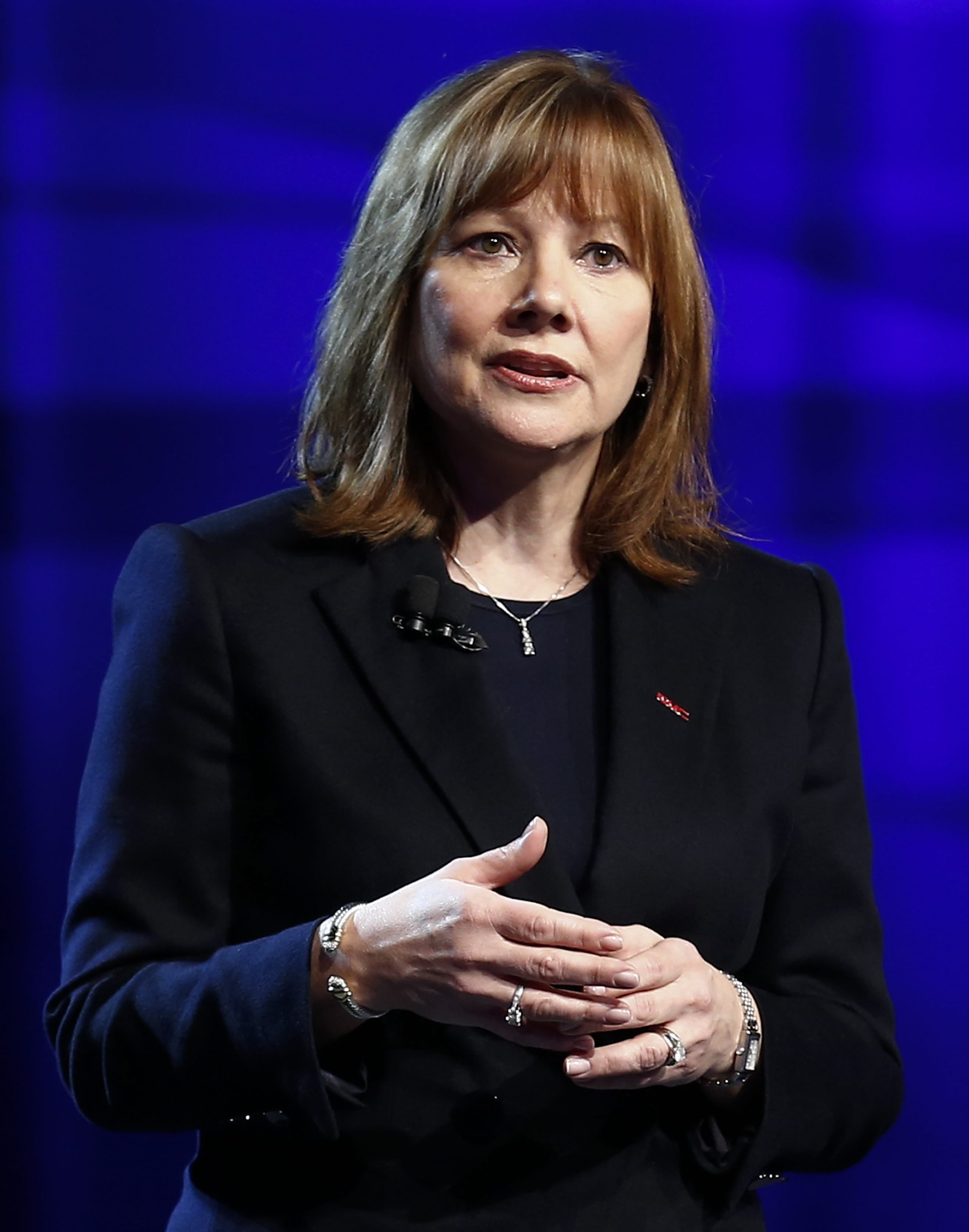General Motors CEO Mary Barra introduces the 2015 GMC Canyon pick-up truck at the Russell Industrial Center in Detroit, on Jan. 12, 2014.