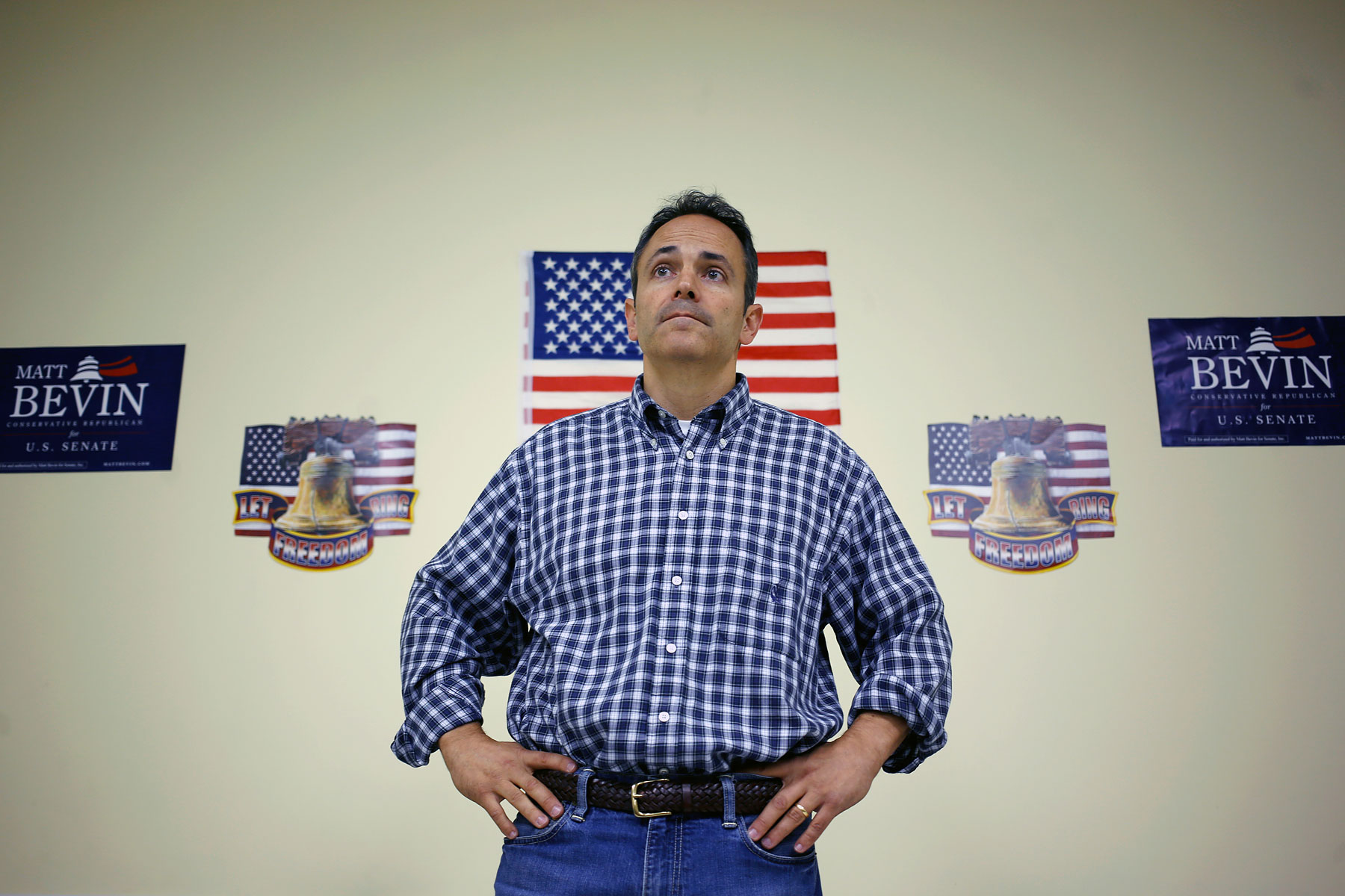 Louisville businessman Matt Bevin speaks during a meeting of the Spencer County Tea Party at the Kentucky Farm Bureau in Taylorsville, Ky., October 15, 2013.
