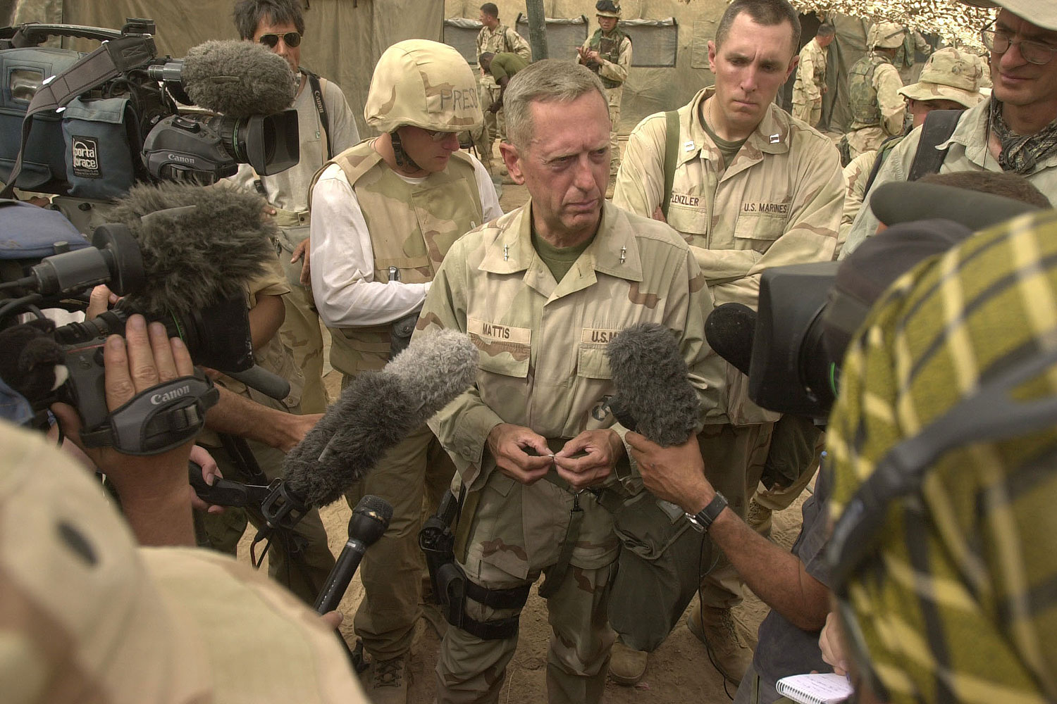 General Jim Mattis answers questions in Iraq in 2003. He has served in both Gulf Wars as well as in Afghanistan