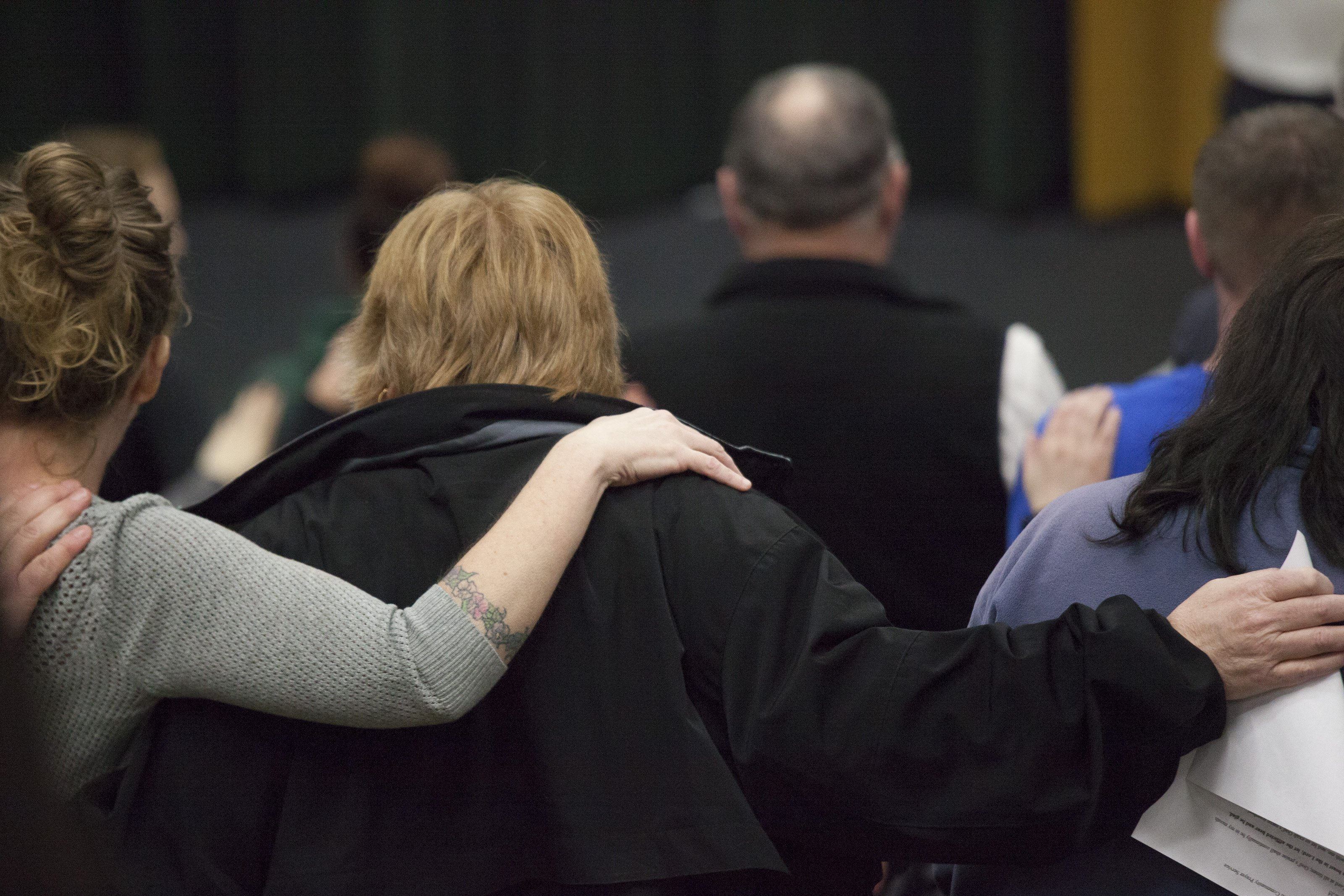 Residents attend a community prayer service on March 26, 2014 in Darrington, Wash.