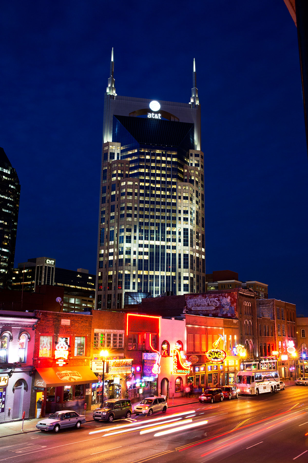 Lower Broadway is seen at night with the AT&T building or  the Batman building  and CMT in the background in Nashville, February 25, 2014.