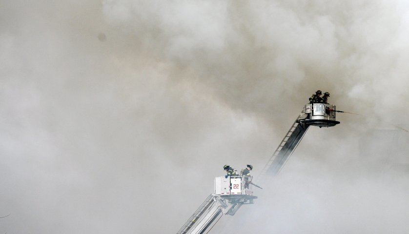 Firefighters respond to a reported explosion in Harlem.