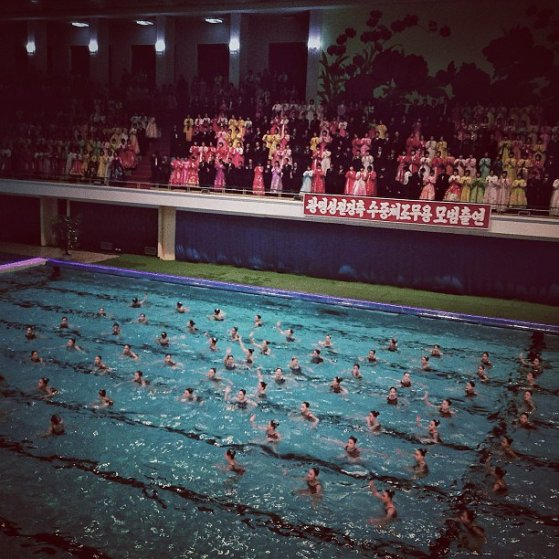 A surreal mass synchronized swimming performance in Pyongyang, North Korea, February 15, 2013.