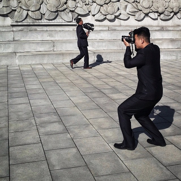 North Korean state media in action, Pyongyang, October 3, 2013.