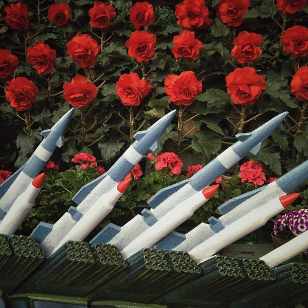 Models of North Korean rockets were incorporated into the flower arrangements at the Kimilsungia exhibition in Pyongyang, April 12, 2013.